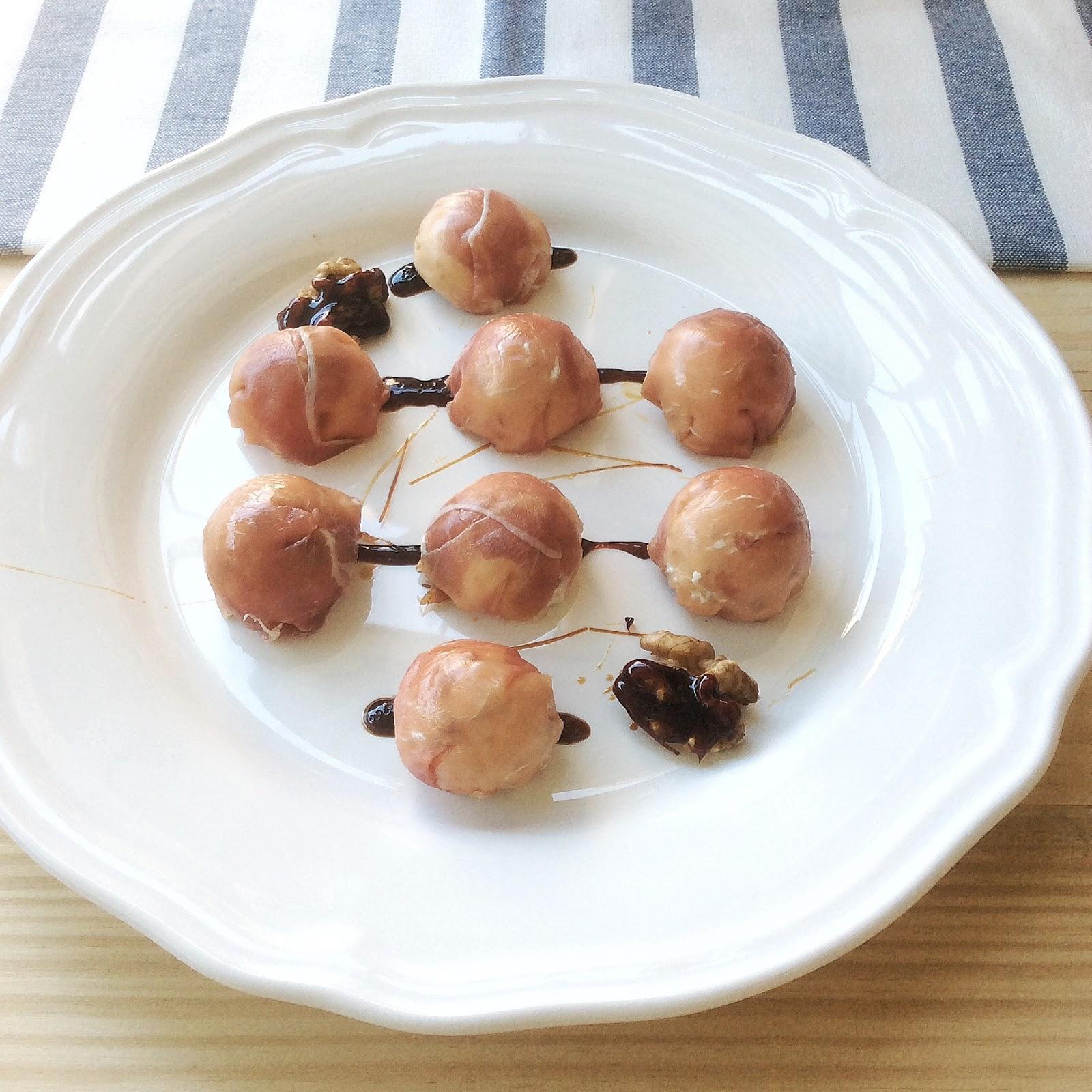 Bombones de Jamón, Gorgonzola y nueces