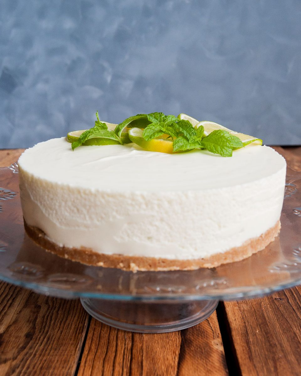 presentacion de cheesecake de lima y limón