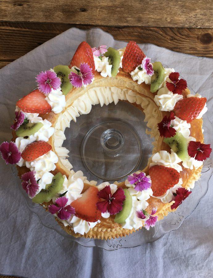 Tortell de Nata, frutas y flores