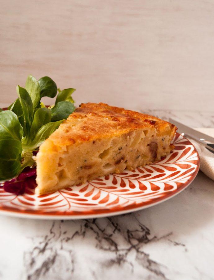 Cake de queso azul manzana y nueces