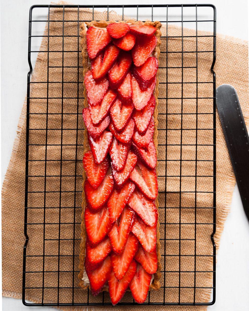 presentacion banda de crema con fresas