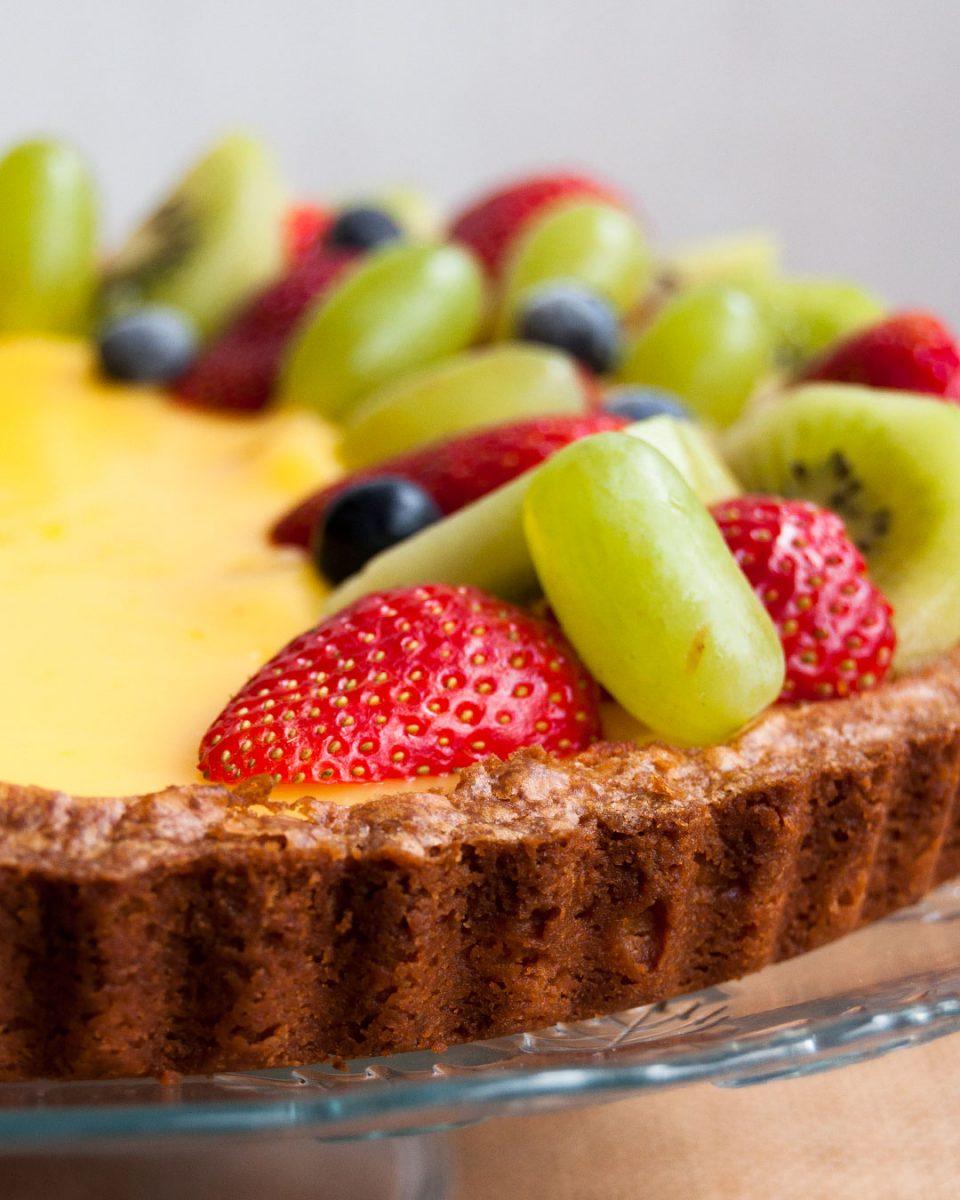 tarta primavera de limón y frutas