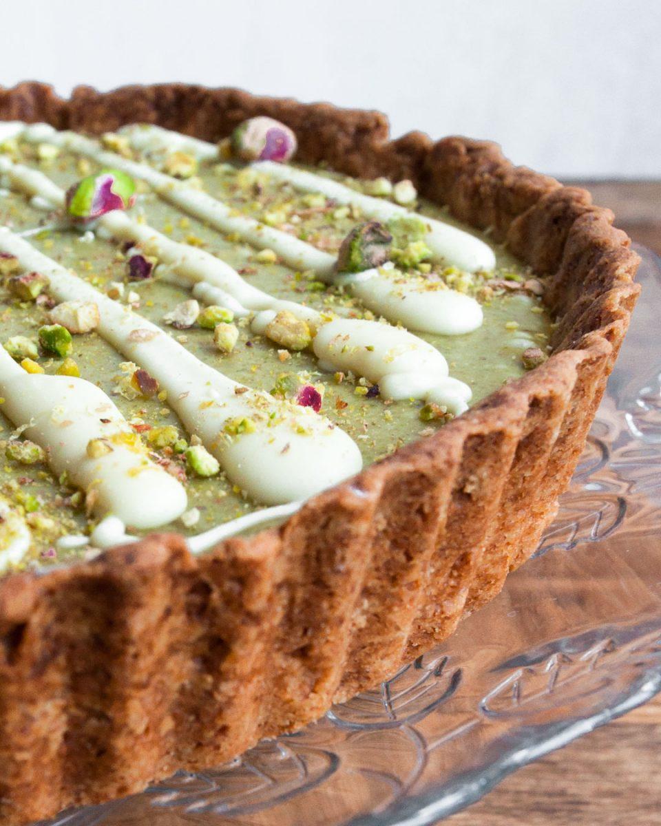 la mejor tarta de chocolate blanco y pistachos.